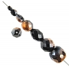 Glass Firepolished Beads Black Copper Half Coat Asst